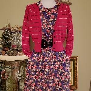 Dress with belt & sweater